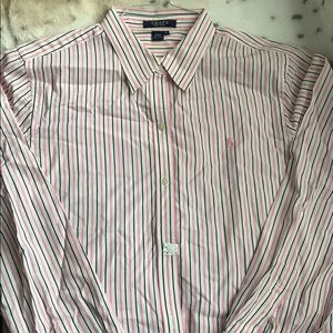Striped pink and black Chaps shirt $12